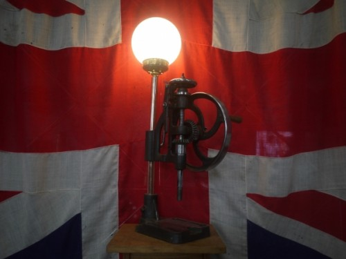 AntiqueIndustrialWorktopCastIronDrillCopperLampLight.jpg