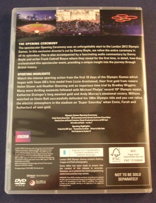 London 2012 olympics dvd r2 case1 back
