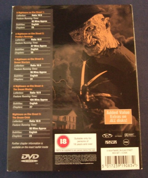 Nightmare on elm st collection dvd r2 back